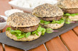 Gourmet Hamburgers - Burgers in seeded buns and summer leaves