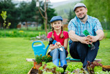 Gardening - father and daughter working in vegetable garden