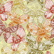 Elegant beige vintage seamless background with butterflies