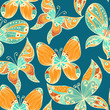 Blue vintage hand drawn seamless background with butterflies