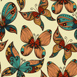 Bright vintage hand drawn seamless background with butterflies