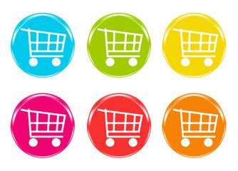 Iconos de carritos de la compra en varios colores