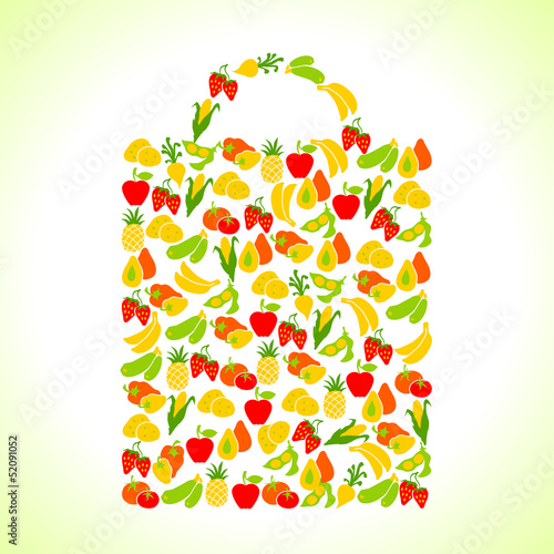 Fruits and vegetables in the shape of shopping bag.