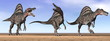 Spinosaurus dinosaurs in the desert - 3D render