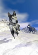 Malamute dogs in the mountain - 3D render