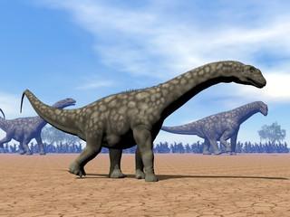 Argentinosaurus dinosaurs walk - 3D render