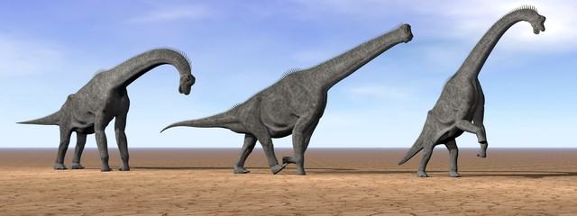 Brachiosaurus dinosaurs in the desert - 3D render