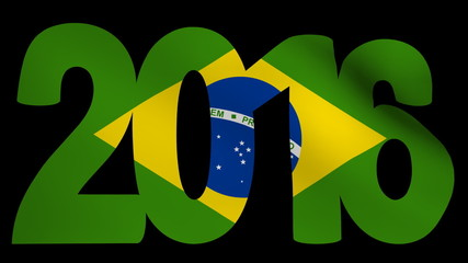 2016 text with rippling Brazilian flag animation