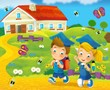 Going to school - illustration for the children