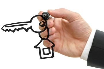Drawing  house key with key chain on a virtual whiteboard