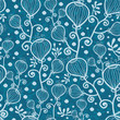 Vector blue underwater abstract plants seamless pattern