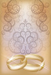 Wedding invitation card with golden rings, vector