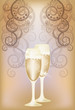 Wedding invitation card with champagne, vector