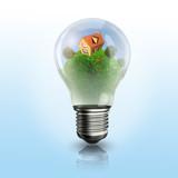 A light bulb with a house inside