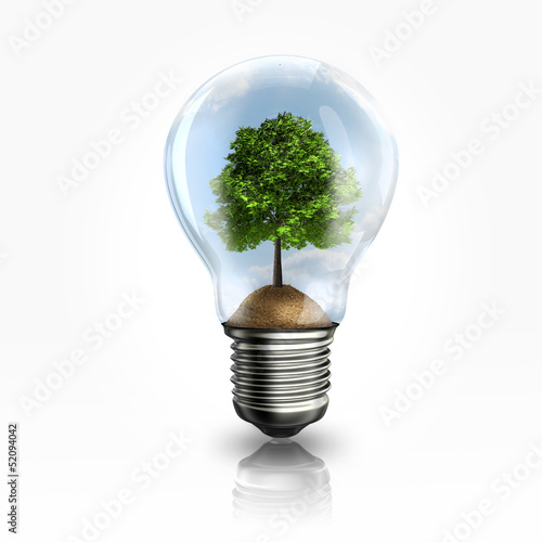 A light bulb with a tree inside