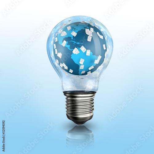 A light bulb with a globe inside