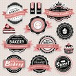 Collection of vintage retro bakery labels, badges and icons