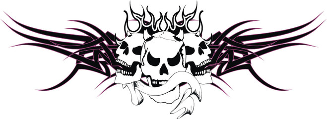 skull tribal tattoo vector2