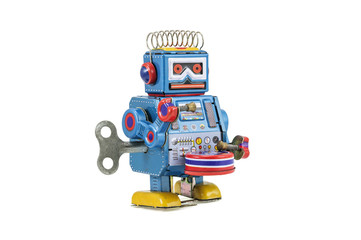 Retro robot toys isolated
