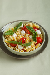 Pasta salad with cherry tomatoes, basil leaves and mozzarella