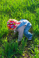 baby in the bandana on all fours in the field