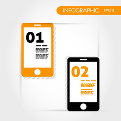 two orange infographic mobile phones