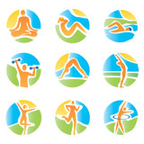 Colorful icons yoga fitness