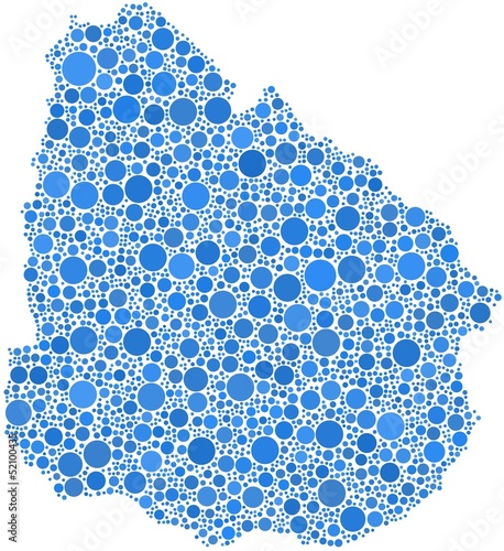 Map of Uruguay - Latin America - in a mosaic of blue bubbles