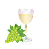 glasses of white wine grapes