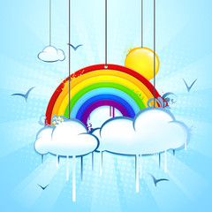 Regenbogen mit Himmel, Wolken und Sonne