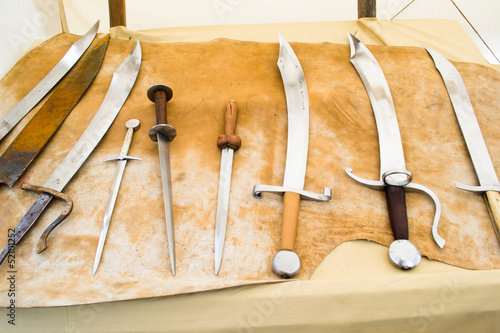 medieval blades on display