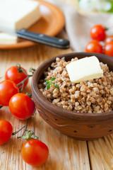 buckwheat porridge and fresh tomatoes, vegetables