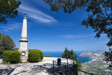 Monument in Erice medieval town, Sicily