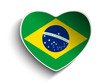Brazil Flag Heart Paper Sticker