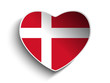 Denmark Flag Heart Paper Sticker