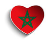 Morocco Flag Heart Paper Sticker