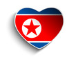 North Korea Flag Heart Paper Sticker