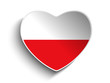 Poland Flag Heart Paper Sticker