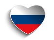 Russia Flag Heart Paper Sticker