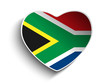 South Africa Flag Heart Paper Sticker