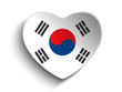 South Korea Flag Heart Paper Sticker