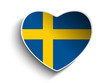 Sweden Flag Heart Paper Sticker