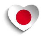 Japan Flag Heart Paper Sticker