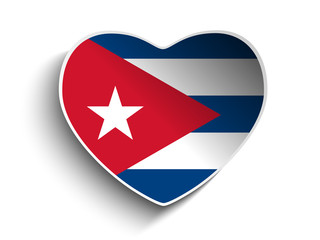 Cuba Flag Heart Paper Sticker