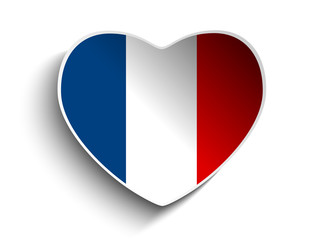 France Flag Heart Paper Sticker