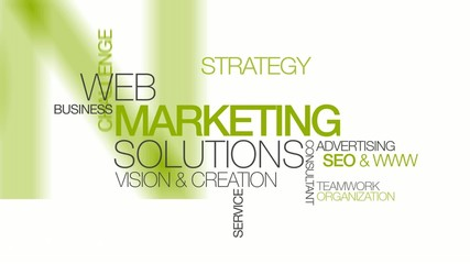 Web Marketing solutions mobile word tag cloud animation