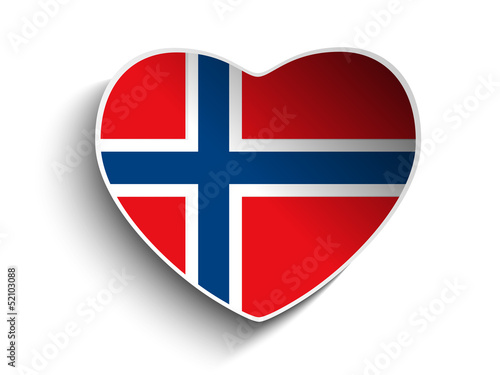 Norway Flag Heart Paper Sticker