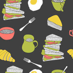 Colorful breakfast seamless pattern