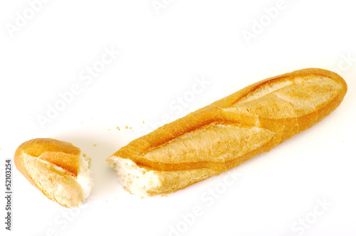 long loaf, Baguette on white background