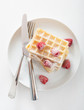 Waffle With Raspberry And Icin...